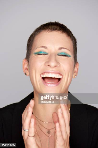 fashionable woman laughing