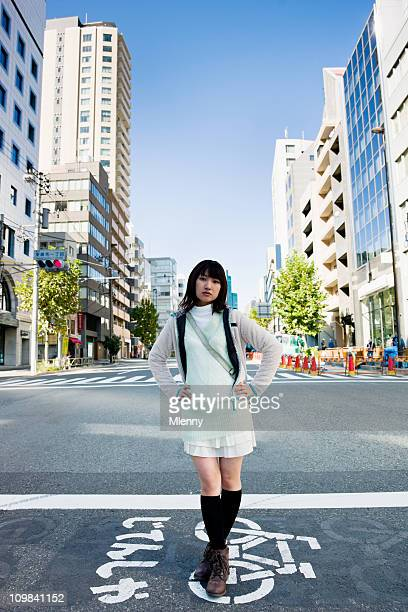fashionable woman tokyo urban portrait - japanese short skirts stock pictures, royalty-free photos & images