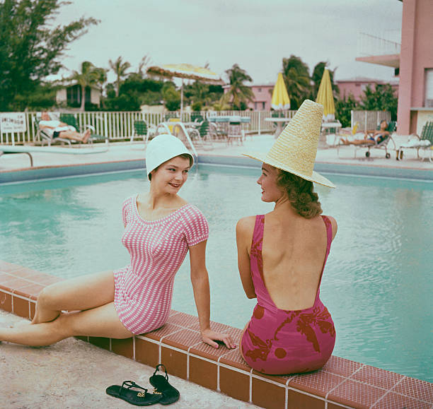Fashionable Women Lounging at Poolside