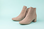 fashionable womens suede ankle boots light