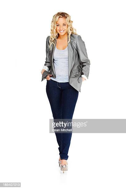 fashionably dressed young woman - white pants stock pictures, royalty-free photos & images
