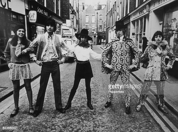 Fashionablydressed young people on Newburgh Street in London's Soho November 1967