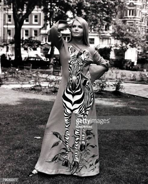 Fashion/Beauty London England 15th June 1971 Eva RueberStaier the former Miss World models a zebra dress as part of a wild life collection London...