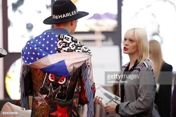 Fashionblogger Maximilian Seitz fashion detail attends the Fashionbloggercafe during Platform Fashion January 2017 at Areal Boehler on January 29...
