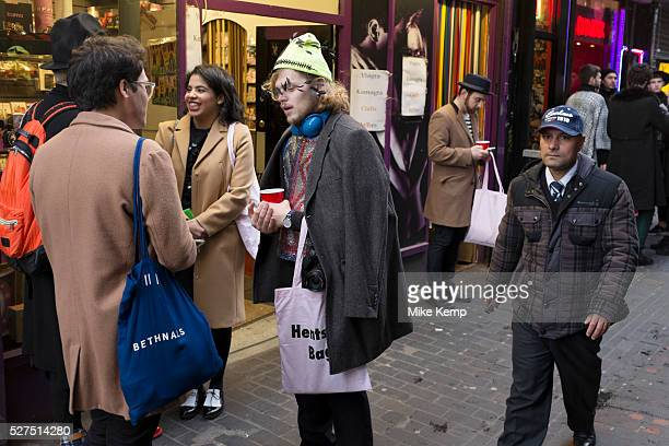 Fashionistas gather in Walker Court in Soho London for the launch of the Hentsch Man Peep Show Autumn Winter fashion collection Hentsch Man was...