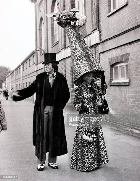 Fashion/Royal Ascot England 15th June 1971 Mrs Gertrude Shilling in one of her famous creations this time a hat made from a mock giraffe's head at...
