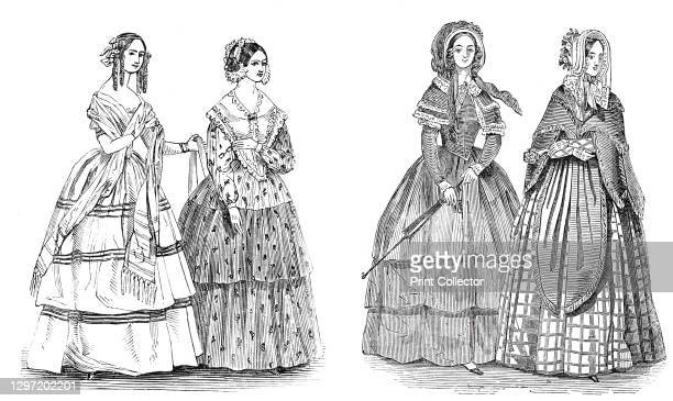 Fashions for August, 1844. '1. A paille de riz hat ornamented with flowers and a veil. A polka mantelet of changeable silk trimmed with fringe. A...