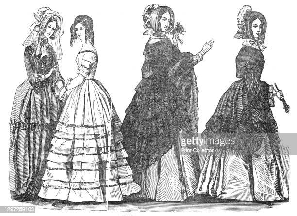 Fashions for July, 1844. 'No. 1. A Promenade Costume. A Crape Hat, with tulle veil; A Barège Dress, trimmed with quillings of the same material. No....