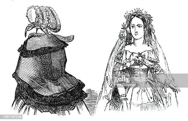 Fashions for September, 1844. Left: 'A crape hat. A silk cloak, trimmed with a row of lace round the collar, and two rows at the back and down the...