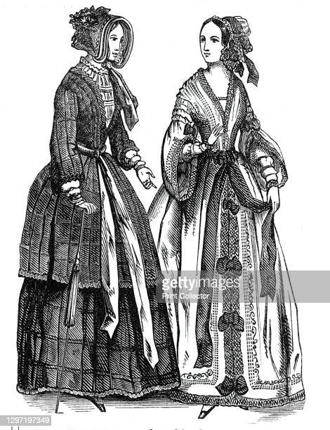 Fashions for September, 1844. Left: 'An evening dress of embroidered white organdy, trimmed with pink satin bows and sash. A lace cap, trimmed with...