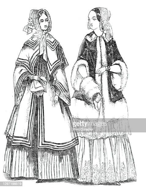 Fashions for the New Year, 1844. Left: 'A satin hat. A satin cloak, trimmed with narrow velvet ribbon'. Right: 'A lace cap. A velvet cloak, trimmed...