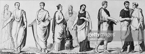 Fashions in ancient Rome circa 1 AD The man on the left is a Roman senator
