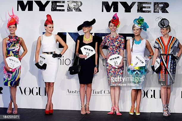 Fashions of the field contestants parade for the judges during Spring Champion Stakes Day at Royal Randwick on October 12 2013 in Sydney Australia