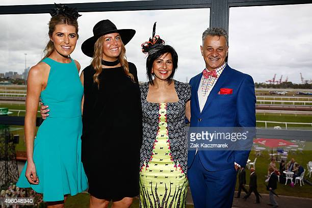 Fashions on the Field Ambassador Georgia Connolly, fashion journalist Anna Byrne, Pia Bagnato and fashion designer Dom Bagnato pose at the Emirates...