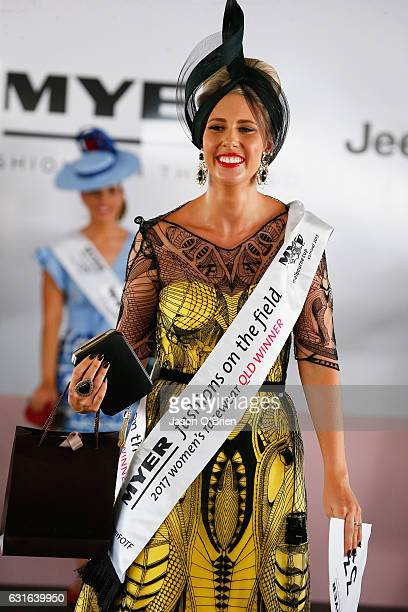 Fashions on the field winner Stacie Galeano attends the Magic Millions Raceday on January 14 2017 in Gold Coast Australia