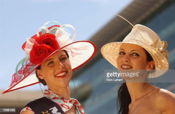 Fashions on the field winners Arabella Farge and Poppy Bochvinis during the 2002 Crown Oaks Day held at Flemington Racecourse Melbourne Australia on...