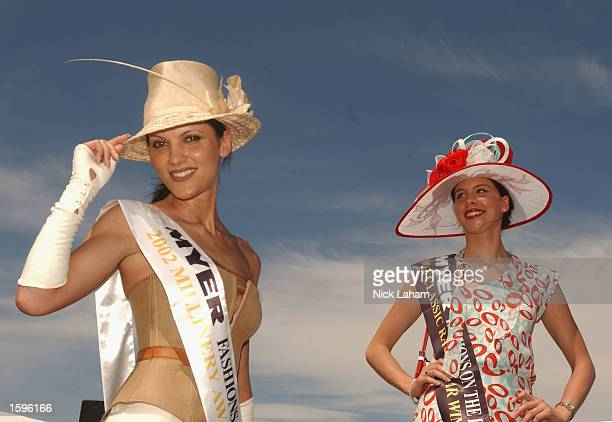 Fashions on the field winners Poppy Bochvinis and Arabella Farge during the 2002 Crown Oaks Day held at Flemington Racecourse Melbourne Australia on...