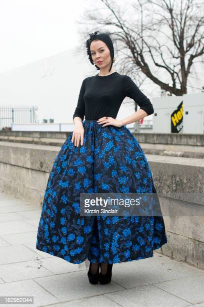 Fasion designer and photographer Ulyana Sergeenko wears Dior Haute Couture on day 2 of Paris Womens Fashion Week Autumn/Winter 2013 on March 1, 2013...