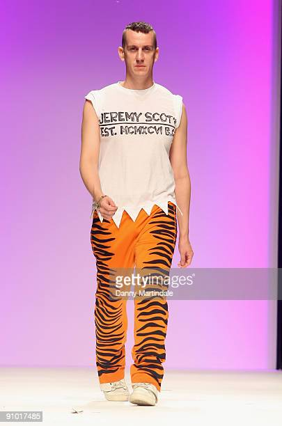 Fasion Designer Jeremy Scott comes out at the end of his show, London Fashion Week Spring/Summer 2010 - Runway on September 22, 2009 in London,...
