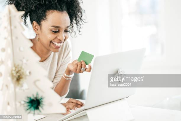 fast and efficient online shopping - gift card stock photos and pictures