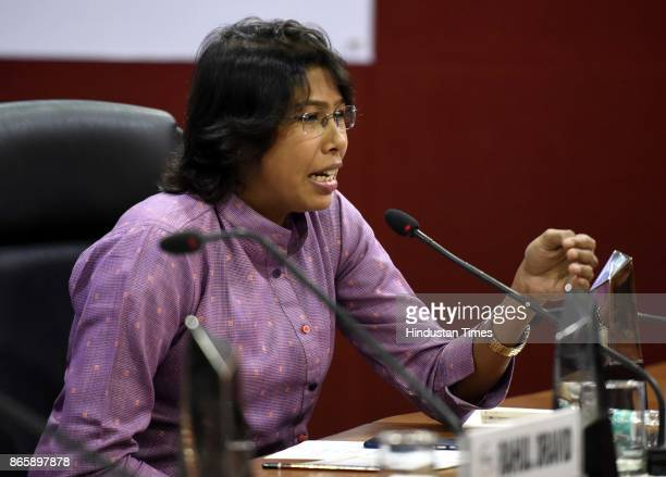 Fast bowler Indian Womens Cricket Team Jhulan Goswami during the FICCI Ladies Organisation interactive session titled Breaking Boundaries at FICCI...