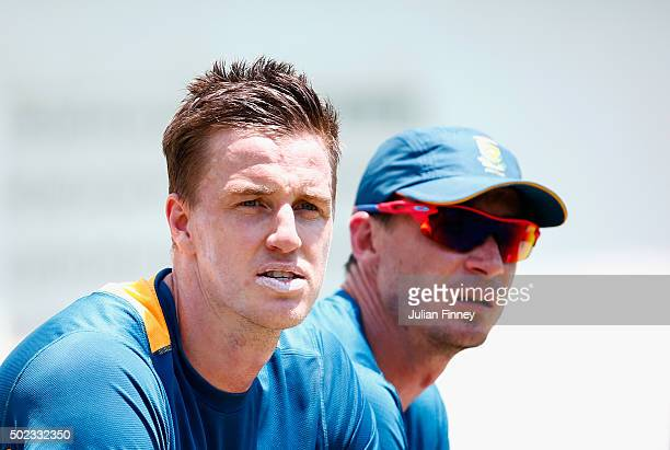 Fast bowlers Morne Morkel and Dale Steyn of South Africa look on during South Africa nets and training session at Sahara Stadium Kingsmead on...