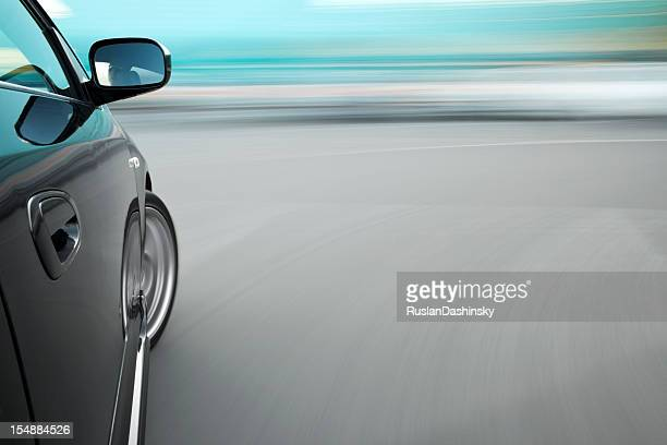 Fast car moving in blurred motion.