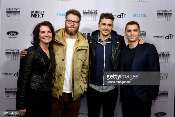 Fast Company CFO Christina Cranley along with actors Seth Rogen James Franco and Dave Franco attend Fast Company's prereception for a screening of...