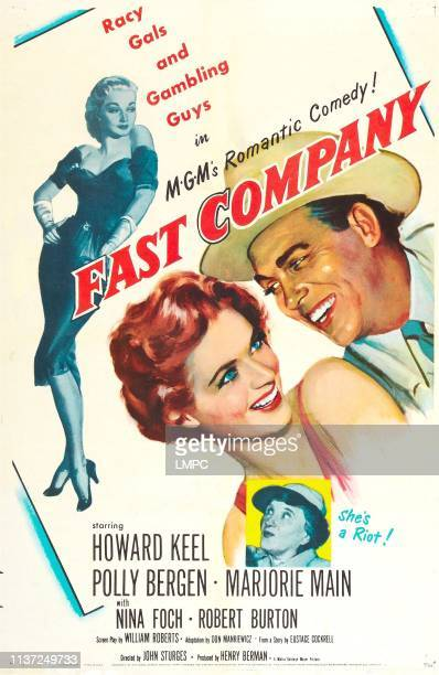 Fast Company poster US poster from left Nina Foch Polly Bergen Howard Keel bottom inset Marjorie Main 1958