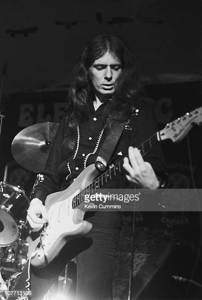 'Fast' Eddie Clarke of British rock band Motorhead performs at the Electric Circus in Manchester 5th August 1977