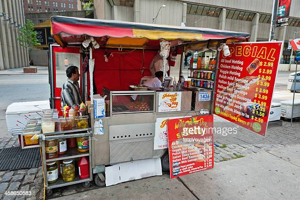 Fast food hot dog stand downtown Toronto Canada