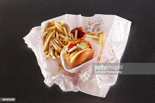 Fast food in take out paper bag
