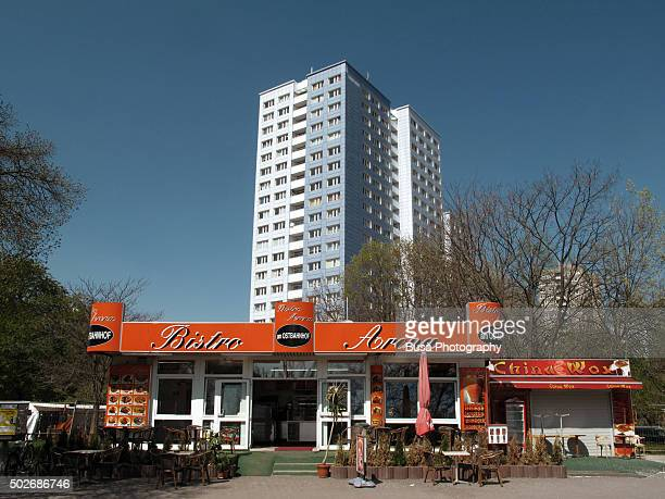 Fast food kiosk in an isolated area of East Berlin, district of Friedrichshain