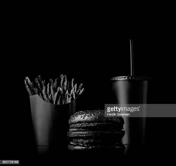 Fast food meal on black backdrop
