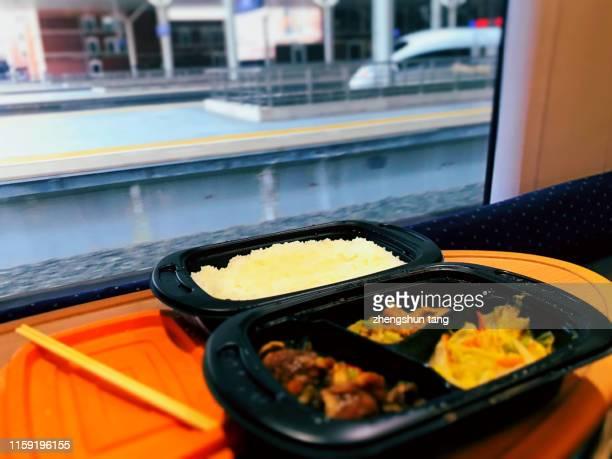 fast food of high speed train in the interior restaurant, dalian, china - 高速列車 ストックフォトと画像