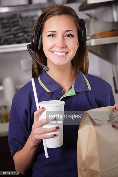 fast food restaurant worker - fast food restaurant stock pictures, royalty-free photos & images