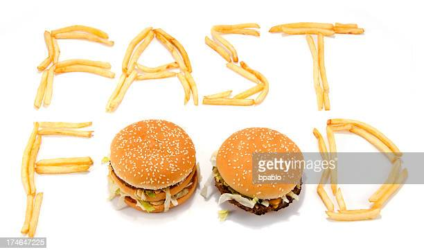 Fast food spelled with French fries and hamburgers