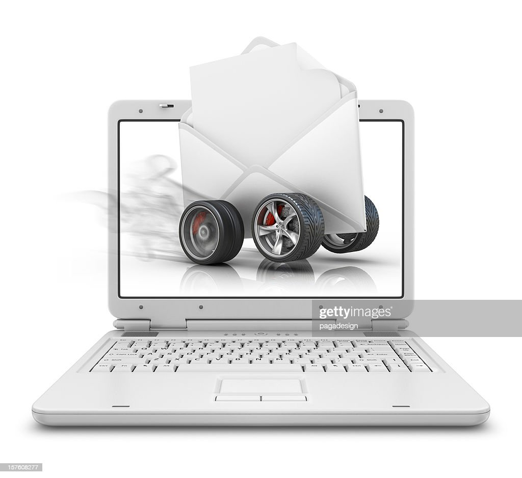 fast message in laptop : Stock Photo