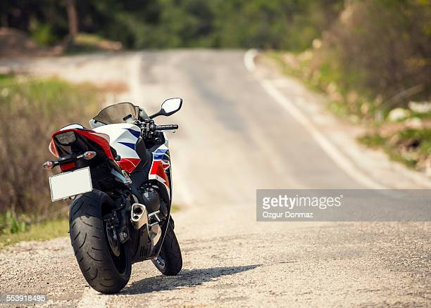 Fast modern sportbike on the road