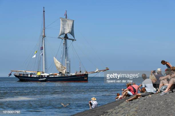 Fast sailing vessel Wylde Swan from The Netherlands entering the port of Harlingen during the finish of the 2018 Tall Ship Race on August 3 2018 in...