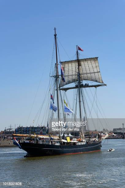 Fast sailing vessel Wylde Swan from The Netherlands entering the port of Harlingen during the finish of the 2018 Tall Ship Race on August 3, 2018 in...