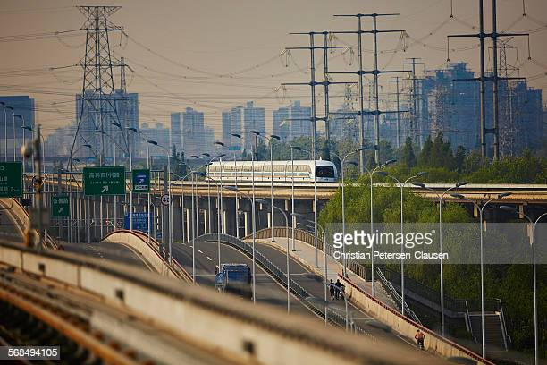 Fast Shanghai Maglev bullet train at high-speed