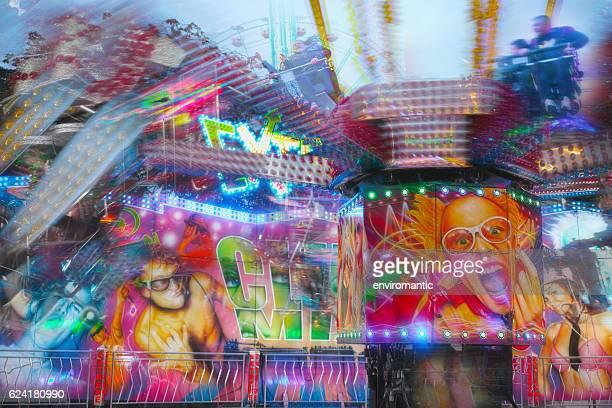 Fast spinning mechanical fun ride at Goose Fair.