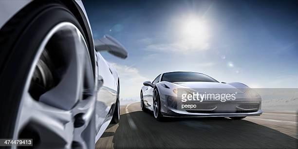 fast sports cars in extreme close up - muscle car stock photos and pictures