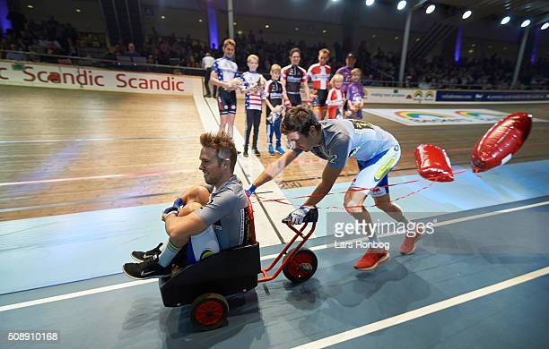 Fastelavn and the riders during day four at the Copenhagen Six Days Race Cycling at Ballerup Super Arena on February 7 2016 in Ballerup Denmark