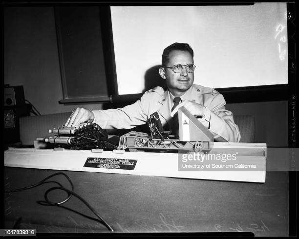 Fastest man on earth' 9 June 1954 Lieutenant Colonel John P Stapp 44 Aeromedical scientist Model of Northrop Aircraft test rocket sledCaption slip...