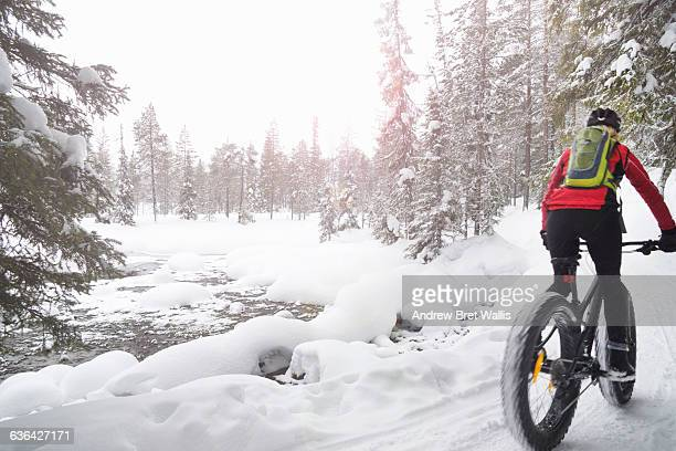 Fat biking in the winter forests and fells.