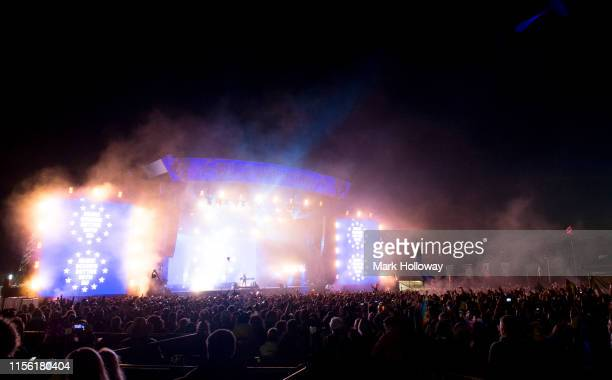 Fat Boy Slim performs on stage during Isle of Wight Festival 2019 at Seaclose Park on June 15 2019 in Newport Isle of Wight