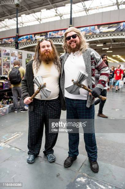 Fat Depressed Thor cosplayer duo seen in character during London Film and Comic Con 2019 at Olympia London on July 27 2019 in London England