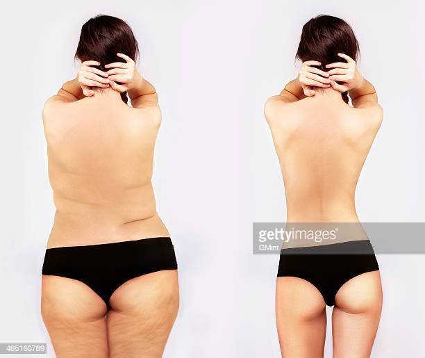 fat girl standing next to a skinny one - underweight stock photos and pictures